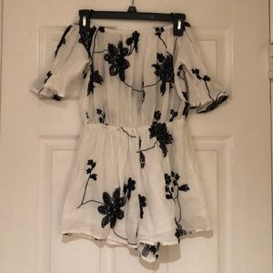 Black and White Floral Embroidered Romper